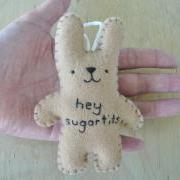 Naughty Ornament - hey sugartits - funny bunny