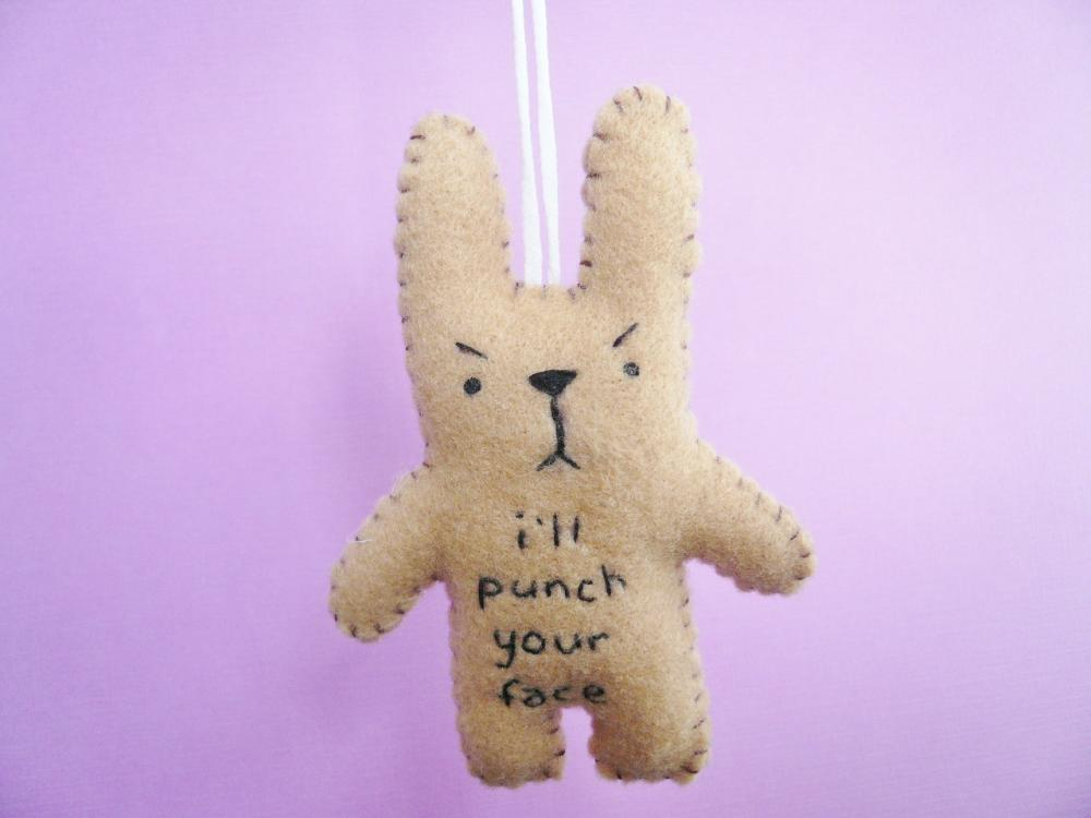 Funny ornaments, I'll punch your face, funny bunny