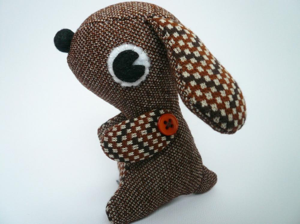 Stuffed animal puppy dog - Brown Vintage style plush
