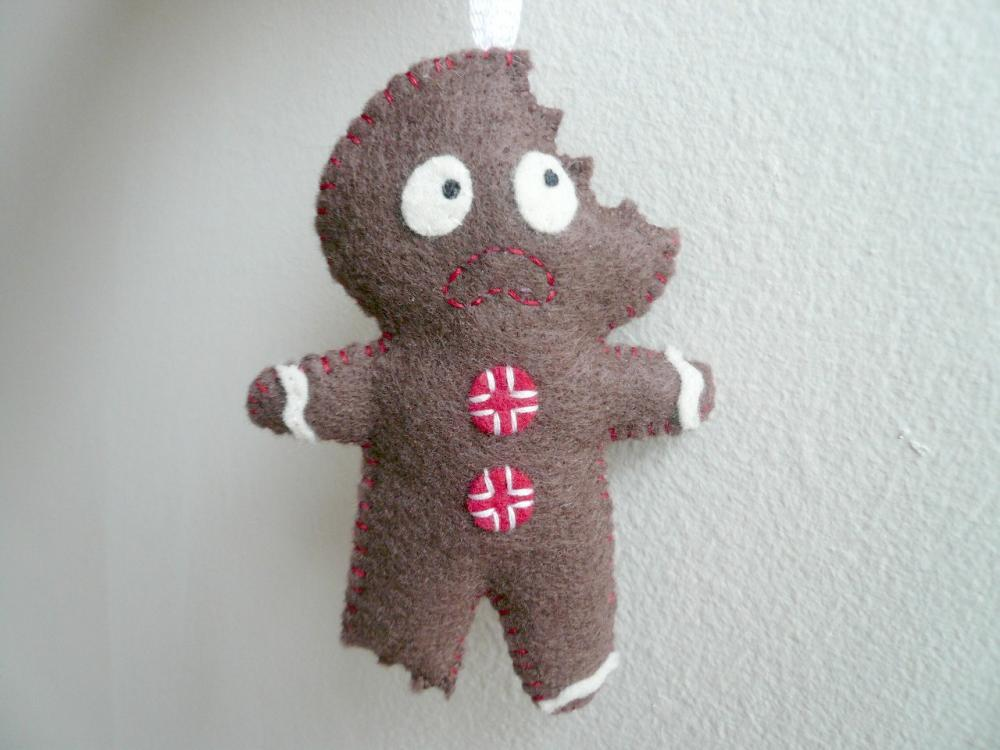 Terrified Gingerbread Man - Funny Ornament