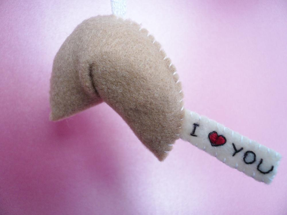 Felt Ornaments - I love you, Fortune Cookie