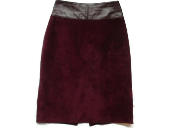 Suede Skirt Leather Burgundy Pencil Skirt - Danier