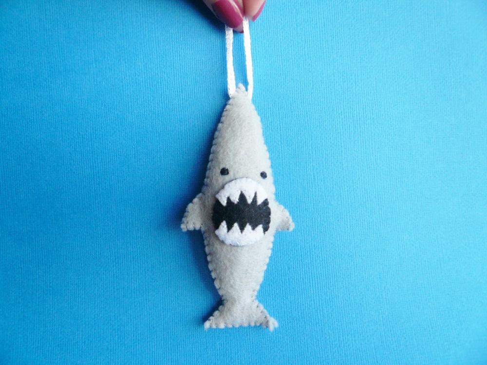 Funny felt ornament - Ferocious Shark
