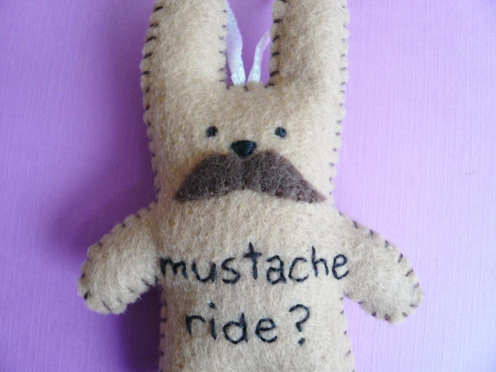 Mustache Bunny - Funny handmade ornament - Plush Rabbit