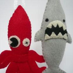 Felt animals - Funny Ornaments - Sea Monster Set
