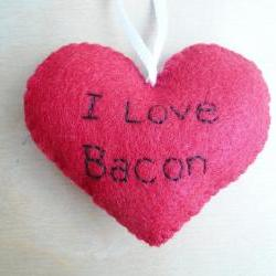 I love Bacon - Funny Bacon Ornament - Father's Day Ornament