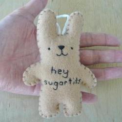Naughty Ornament - hey sugartits - funny bunny
