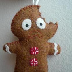 Christmas ornaments - Terrified Gingerbread Man
