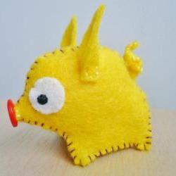 felt animals Miniature Yellow Felt Pig