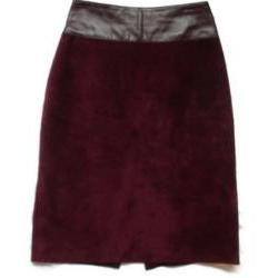 Suede Skirt Leather Burgundy Pencil Skirt - Danier