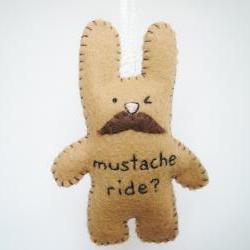 Mustache Bunny Plush - handmade ornament